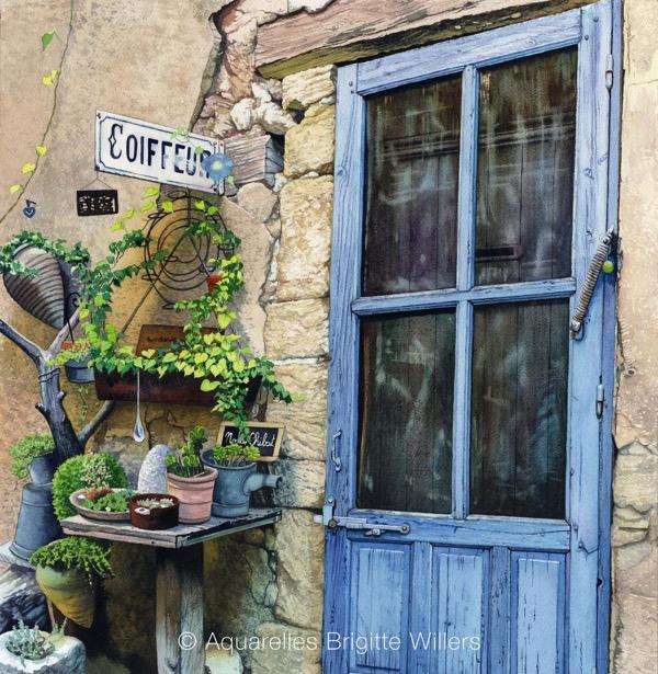 Chez Nadia (42x42cm)<br/>© Aquarelle Brigitte Willers.
