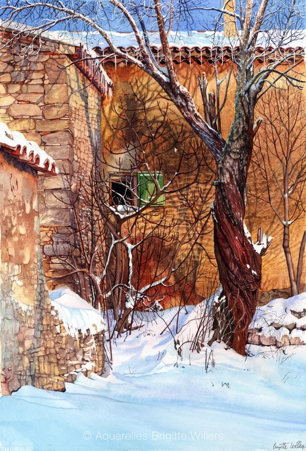Couleurs hiver(53x35cm)<br/>© Aquarelle Brigitte Willers.