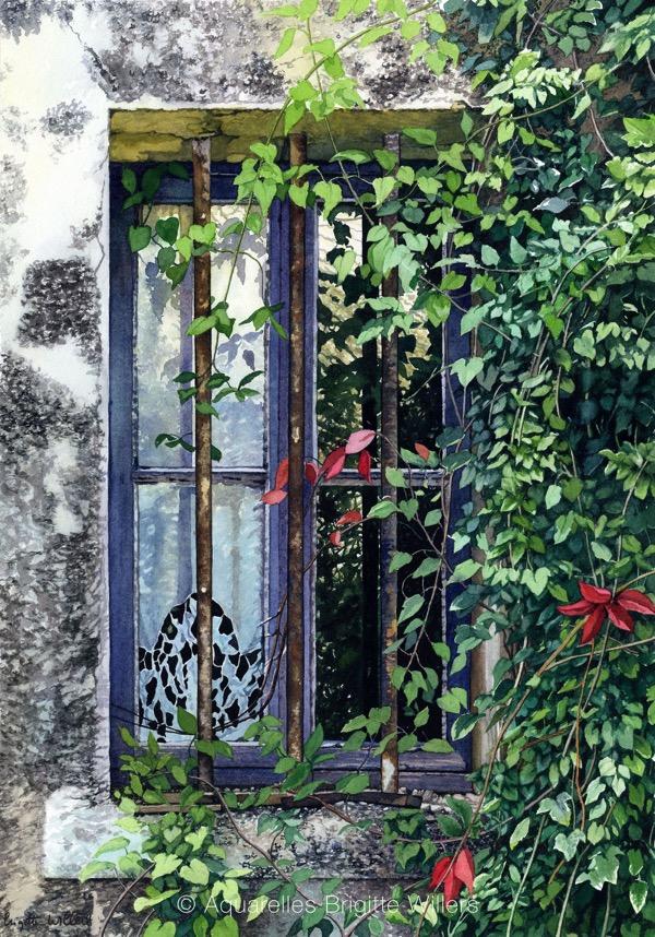 Fenêtre et dentelles (53x37cm) <br/>© Aquarelle Brigitte Willers.