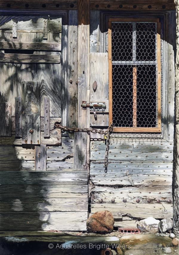 Joli travail du bois (67x47cm) <br/>© Aquarelle Brigitte Willers.