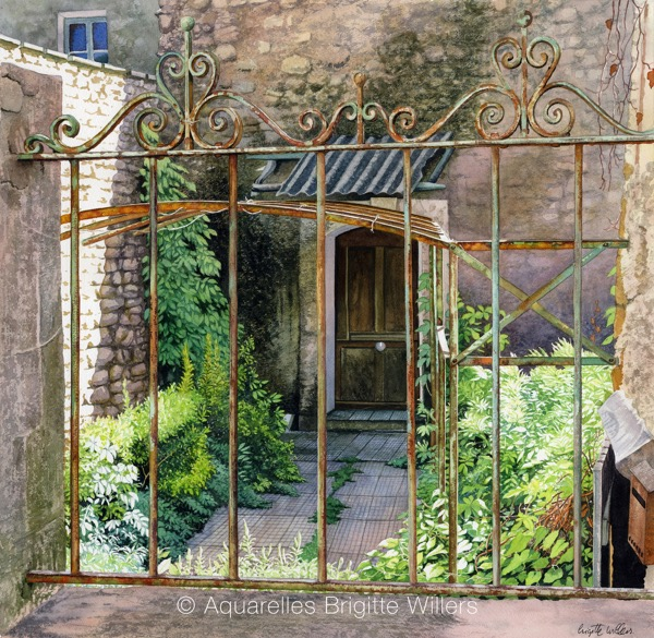 Jolies grilles (49x50cm) <br/>© Aquarelle Brigitte Willers.