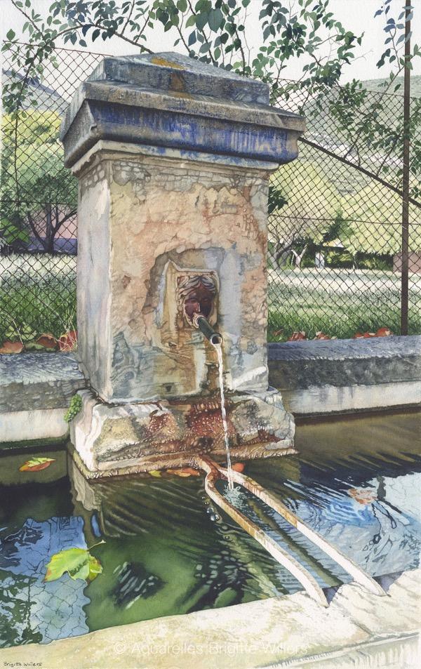 La fontaine de Rustrel (63x40cm)<br/>© Aquarelle Brigitte Willers.