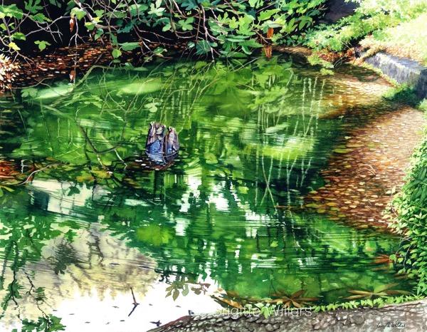 La mare aux reflets (44x57cm) <br/>© Aquarelle Brigitte Willers.