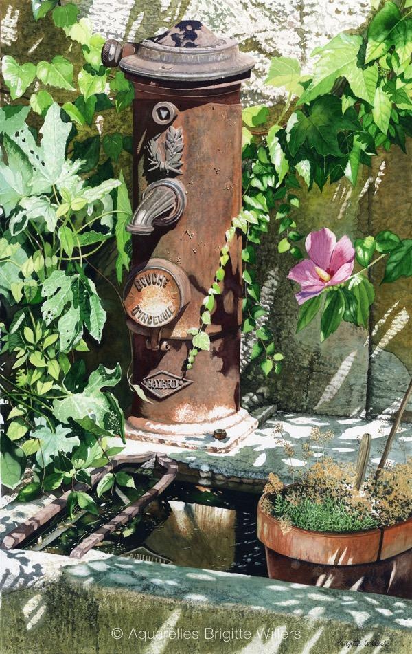 La pompe et l'hibiscus (66x42cm) <br/>© Aquarelle Brigitte Willers.