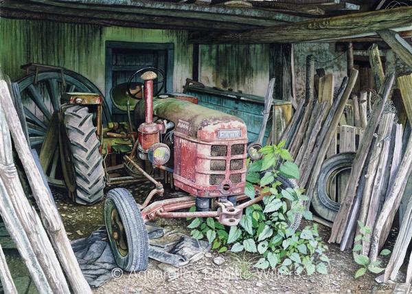 Le vieux tracteur (40x56cm) <br/>© Aquarelle Brigitte Willers.
