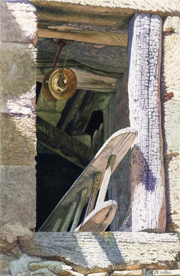 La fenêtre du grenier (46x30cm) <br/>© Aquarelle Brigitte Willers.