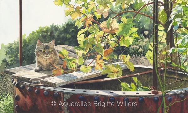 le chat de Serge (34x57cm)<br/>© Aquarelle Brigitte Willers.
