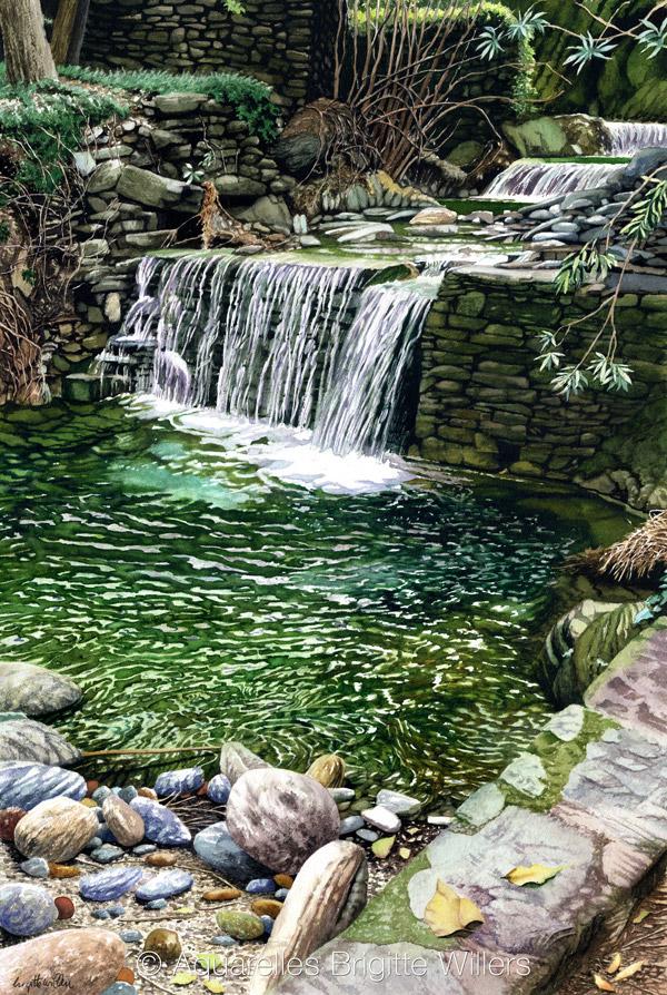 La cascade de Scalo (61x41cm)<br/>© Aquarelle Brigitte Willers.