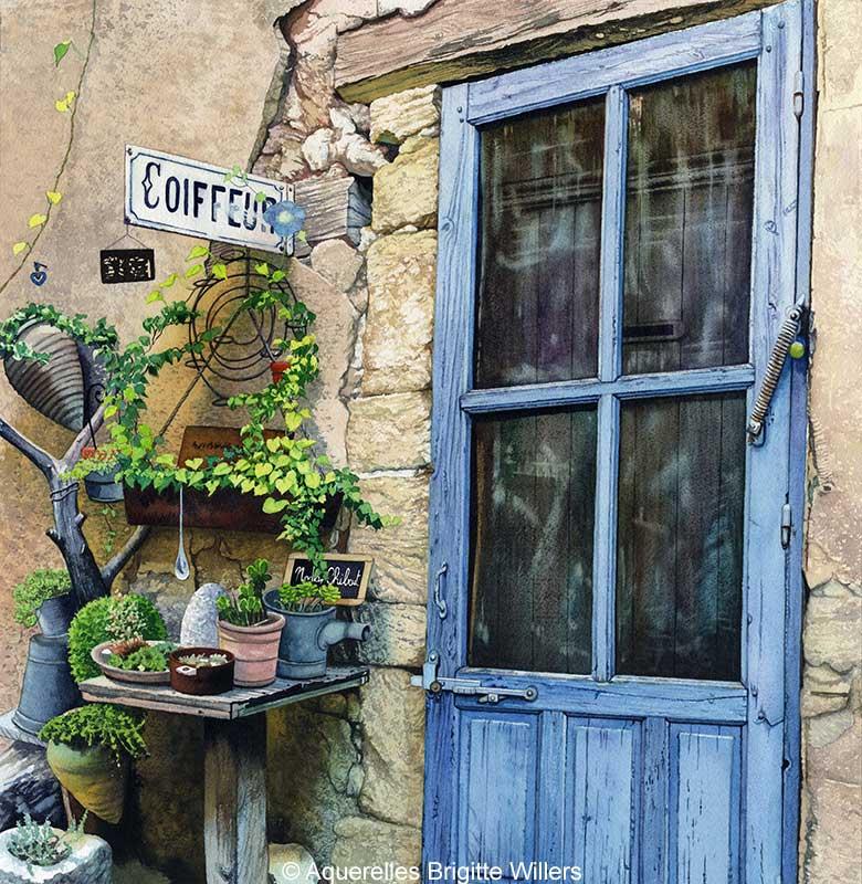 Chez Nadia (42 x 42 cm)<br/>© Aquarelle Brigitte Willers.