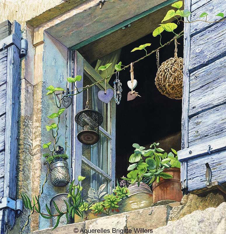 Chez Nadia (44x42 cm)<br/>© Aquarelle Brigitte Willers.