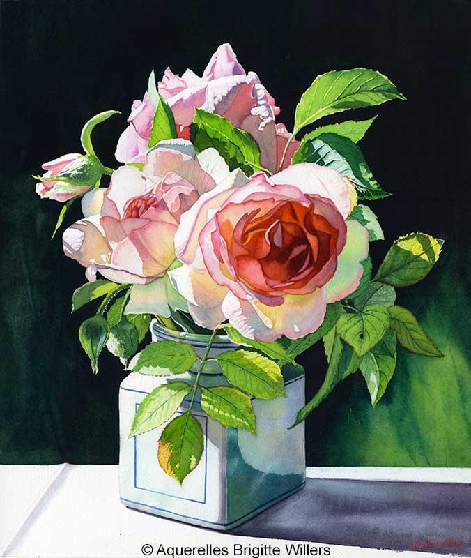 Le pot aux roses (48 x 41 cm)<br/>© Aquarelle Brigitte Willers.
