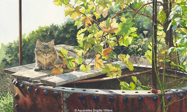 Le chat de Serge (34 x 57 cm)<br/>© Aquarelle Brigitte Willers.